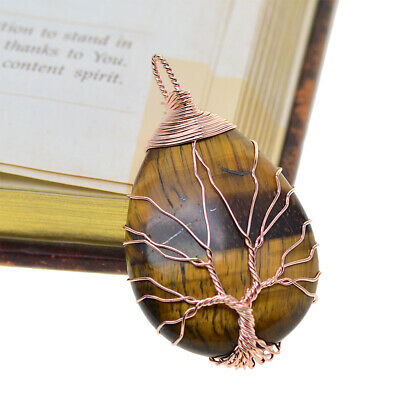 Natural Gemstone Crystal Tree Of Life Pendants Jewelry Making Findings Charm • 4.70£