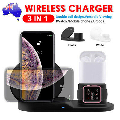 AU24.95 • Buy 3in1 Qi Wireless Charger Fast Charging Dock Stand For Airpods Apple Watch IPhone