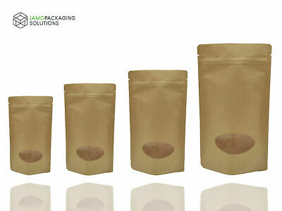 Tear Notch Kraft Paper Stand Up Plastic Oval Window  Sealable Pouch Grip Seal • 4.93£