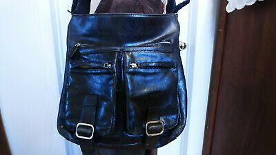 $ CDN45 • Buy DANIER LGE Black Smooth Leather Handbag Front Pockets Crossbody Shoulder Bag