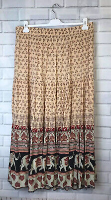 🍄 COTTON TRADERS 🍄 Boho Elephant Ethnic Print Skirt Uk 18 • 10£