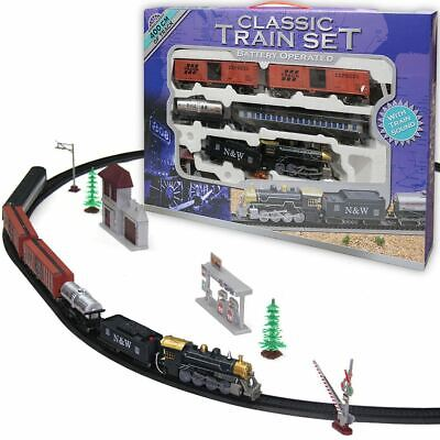 Classic Battery Operated Train Set With Tracks Light Engine Children Kids Toy • 14.99£