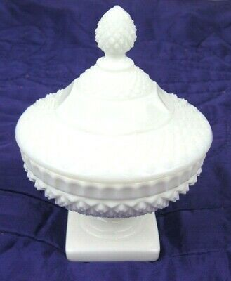 $18.95 • Buy Vintage Milk Glass Diamond Hobnail Small Round Covered Candy Dish Pedestal