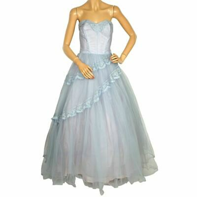 £175.49 • Buy Vintage 50s Prom Dress Blue Tulle Ball Gown Size S