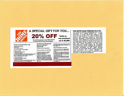 $0.99 • Buy 1 20% OFF HOME DEPOT Competitors Coupon To Use At Lowe's Exp 07/31/20