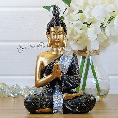 Praying THAI BUDDHA Sitting Ornament Figure Statue Sculpture MEDITATING Figurine • 11.90£