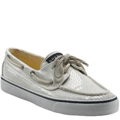 $36.99 • Buy Sperry Topsider Sequin Silver Boat Shoes 8.5 EUC