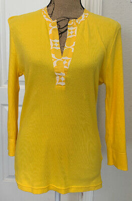 $22.95 • Buy Tory Burch 3/4 Sleeve Yellow Henley Top 100% Cotton - Size L