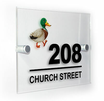 £14.99 • Buy Duck Modern Style Personalised House Number Acrylic Sign Plaque