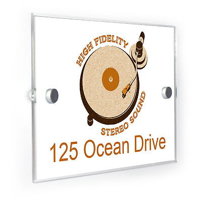 Record Player High Fidelity House Number Plaque Home Address Sign • 19.99£
