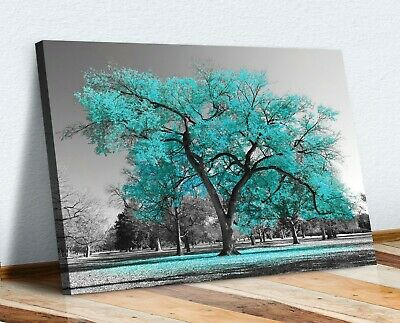 Large Tree Teal Turquoise Leaves Black White Canvas Wall Art Picture Print • 16.99£