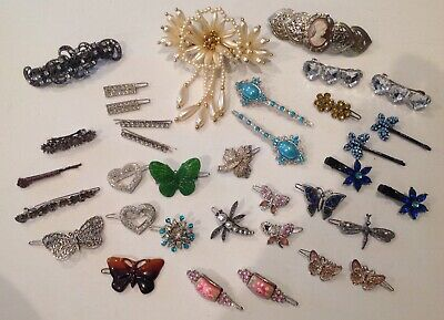 $10 • Buy Mixed Lot Of Vintage Rhinestone AND More Jewelry Clip Hair Barrettes Bobby Pins