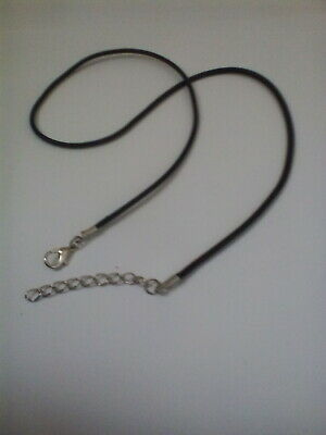 £1.99 • Buy Black Braided Necklace Cord 2 Mm Wide 17 Inch Long  Faux Leather Lobster Clasp