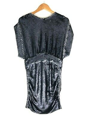 $ CDN211.71 • Buy IRO Miracle Sequin Embellished Ruched Keyhole Mini-Dress Size US 10 FR 42 Black