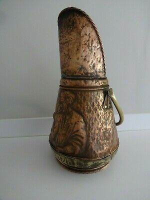 Vintage Tall Copper/Brass Coal Scuttle-Embossed Pipe Smoking Man-20.5  Tall • 39.99£