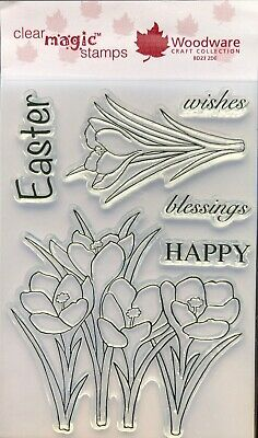 Woodware Happy Easter Wishes Blessings Spring Crocus Clear Stamp Set Card Making • 7.99£
