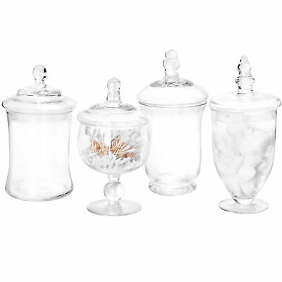 MyGift Set Of 4 Clear Glass Apothecary Jars / Candy Buffet Containers With Lids • 35.07£