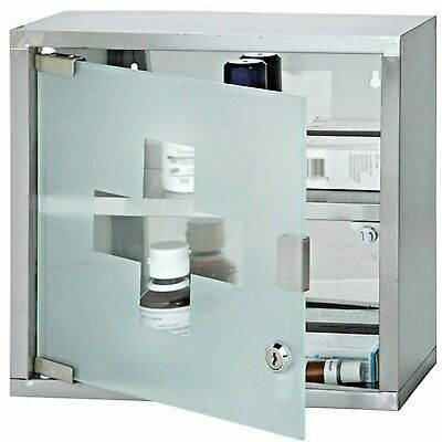 New Funky Buys Wall Mounted Lockable Medicine Cabinet First Aid Stainless Steel  • 19.99£