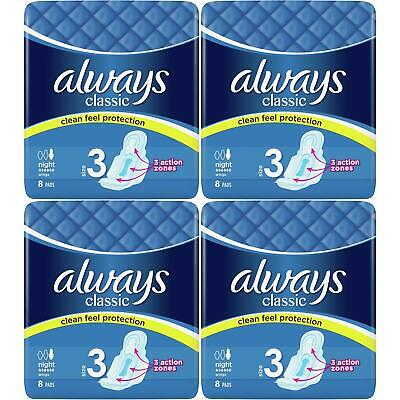 £5.83 • Buy Always Maxi Classic Night Time Pads Sanitary Towels With Wings, Size 3 - 32 Pack