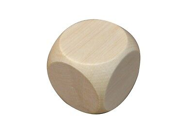 £6.19 • Buy 1 Wooden Plain Dice Dices Cube Cubes Blank Plain Unpainted Wood Six Sided 60mm
