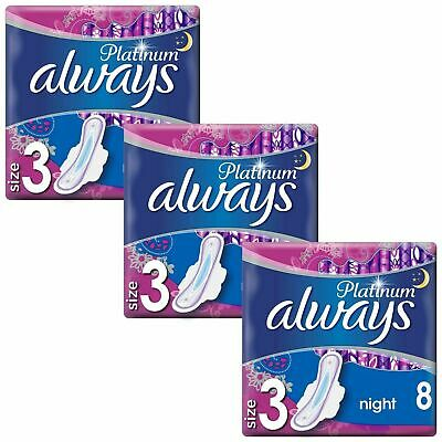 £7.64 • Buy Always Platinum Ultra Night Sanitary Pads Towels With Wings - Size 3 - 24 Pack