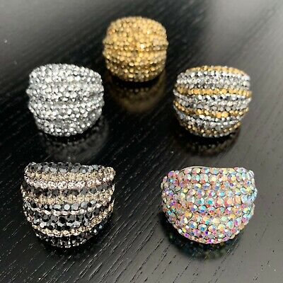 5 X Adjustable New Cocktail Rings Women's Jewellery Made With Swarovski Elements • 7.99£