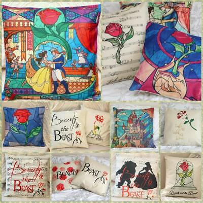 Beauty And The Beast Stain Glass Cushion Cover Pillow Case Home Decor Love Gifts • 8.99£