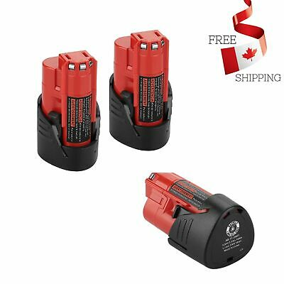 $ CDN52.49 • Buy 2Pack M12 12V 2.5Ah Lithium Ion Replace Battery For Milwaukee M12 48-11-2420