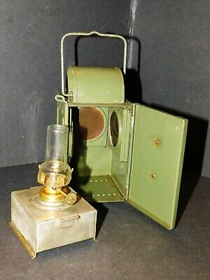 Green Wwii Military? Railway? Paraffin Signal Lamp Lantern Green Red Lenses  • 85£