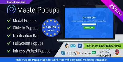 $2.25 • Buy WordPress Master Popups 🔥 Popup Plugin For Email Subscription - Update 🔥
