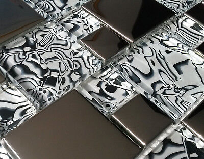 New Luxury Zebra Pattern Black White Glass & Silver Chrome Mosaic Tiles 8mm • 7.98£
