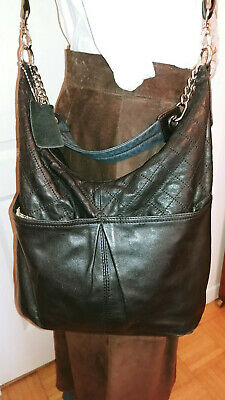 $ CDN45 • Buy DANIER Black Smooth Quilted Leather Crossbody Handbag Shoulder Pockets Bag Purse