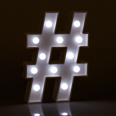 Light Up Hashtag Sign Illuminated Decorative White Wooden Marquee Letter Lights • 10.99£