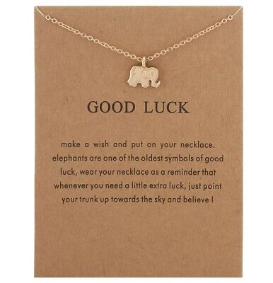 £3.29 • Buy Gold Necklace Gift With Message Angel Good Karma Good Luck Uk