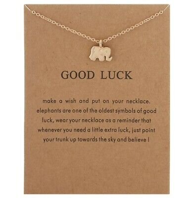 Gold Necklace Gift With Message Angel Good Karma Good Luck Uk • 2.69£