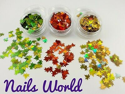 Maple Leaf 12 Colours Nail Art Glitter Flakes Leaves Holographic Autumn Sequins • 2.59£