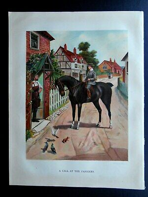ORIGINAL 1902 Colour Book Plate Young Boy Riding Fine Horse To Village Farriers • 2.49£