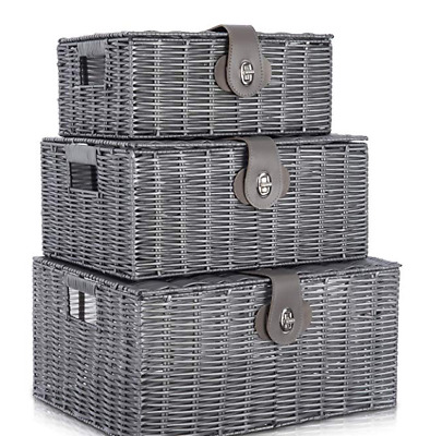 Grey Set Of 3 Resin Wicker Woven Storage Baskets  Hamper Box With Lid Lock • 14.99£