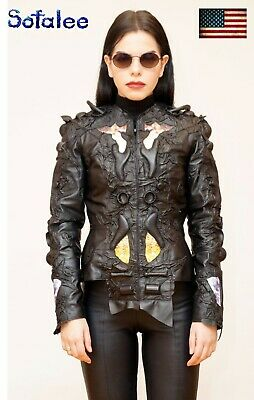 $ CDN868.59 • Buy Cyberpunk Women's Jacket Of Genuine Leather Black Handmade Stylish Collarless XS