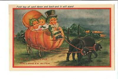 $ CDN27.16 • Buy 1900s VINTAGE HALLOWEEN POSTCARD HOLLY HOLIDAY PUMPKIN GREETINGS WITCH REPLICA