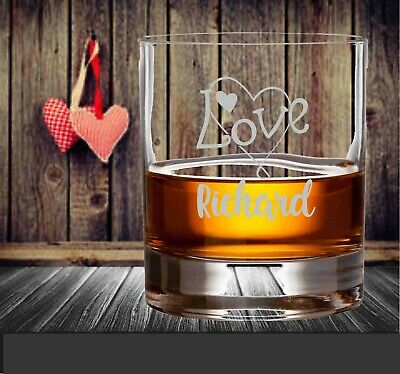 AU24 • Buy Valentine's Day Personalised Scotch Glass Bourbon 290ml Engraved Gift For Him