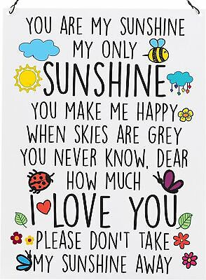 You Are My Sunshine My Only Sunshine Colourful Plaque Metal Sign Size 15x20cm • 13.95£