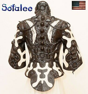 $ CDN654.79 • Buy USA. Genuine Lamb Leather Womens Jacket Cyberpunk In Black White,3/4 Sleeves M