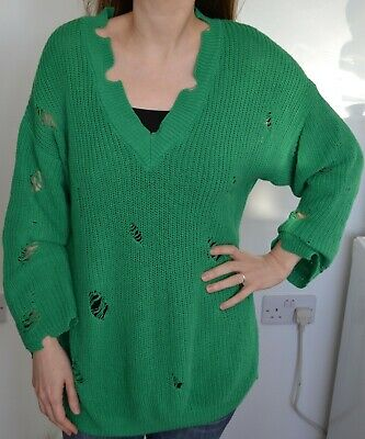 Oversized Slouchy H&m Green Laddered V Neck Jumper Small Knitted Cotton Vgc • 7.50£