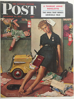 $ CDN25.52 • Buy 1947 Saturday Evening Post COVER ONLY Norman Rockwell  Santa's Helper