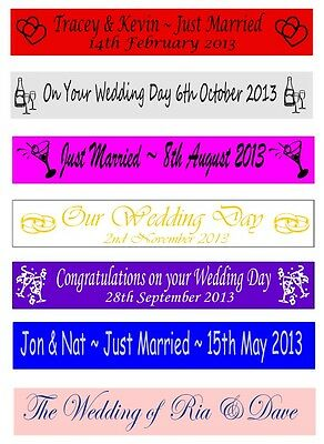 Personalised Just Married Wedding Party Banners Banner 100mm X 1 Metre • 2.75£