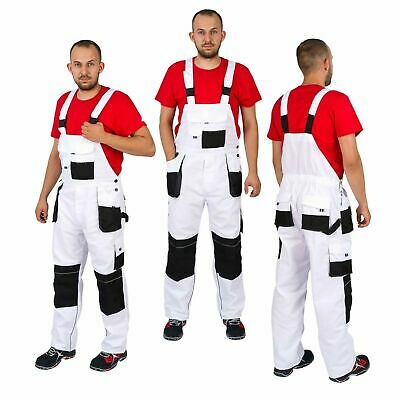 £20.45 • Buy New BIB & BRACE Overalls Men Work Trousers Dungarees Grey And White For Painting