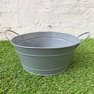 Grey Round Zinc Metal Garden Flower Herb Seed Pot Planter Tub Window Bucket Bowl • 9.99£