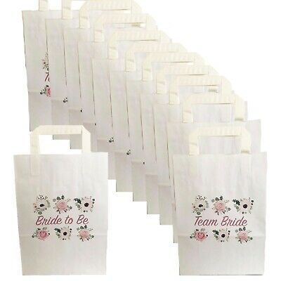 8,16,24,32 Floral Hen Party Bags Paper Team Bride Goody Favour Bag Night Do • 0.99£