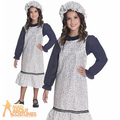 Kids Victorian School Girl Costume 1940s Wartime Book Day Fancy Dress Outfit • 9.99£